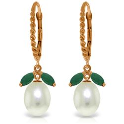 Genuine 9 ctw Emerald & Pearl Earrings Jewelry 14KT Rose Gold - REF-41T4A