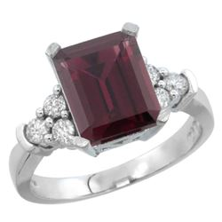 Natural 2.86 ctw rhodolite & Diamond Engagement Ring 14K White Gold - REF-65V2F