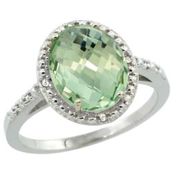 Natural 2.42 ctw Green-amethyst & Diamond Engagement Ring 14K White Gold - REF-34W7K