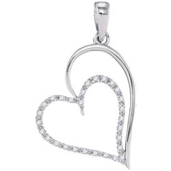 0.12 CTW Diamond Heart Pendant 10KT White Gold - REF-10H5M