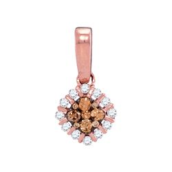0.25 CTW Cognac-brown Color Diamond Diagonal Square Pendant 14KT Rose Gold - REF-26M9H
