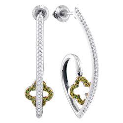 0.25 CTW Green Color Diamond Dangle Earrings 10KT White Gold - REF-37M5H