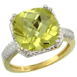 Natural 5.96 ctw Lemon-quartz & Diamond Engagement Ring 10K Yellow Gold - REF-30Y2X