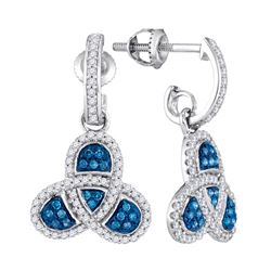 0.50 CTWBlue Color Diamond Trefoil Dangle Earrings 10KT White Gold - REF-38N9F