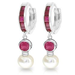 Genuine 4.65 ctw Ruby & Pearl Earrings Jewelry 14KT White Gold - REF-54M6T