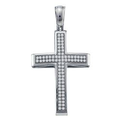 0.25 CTW Diamond Cross Pendant 10KT White Gold - REF-26K3W