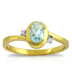Genuine 0.51 ctw Aquamarine & Diamond Ring Jewelry 14KT Yellow Gold - REF-27W3Y
