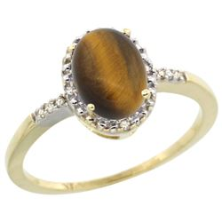 Natural 1.06 ctw Tiger-eye & Diamond Engagement Ring 14K Yellow Gold - REF-22V3F