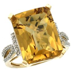 Natural 12.14 ctw Whisky-quartz & Diamond Engagement Ring 10K Yellow Gold - REF-49V2F