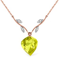 Genuine 10.77 ctw Lemon Quartz & Diamond Necklace Jewelry 14KT Rose Gold - REF-39Z3N