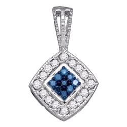 0.26 CTW Blue Color Diamond Diagonal Square Cluster Pendant 10KT White Gold - REF-22Y4X