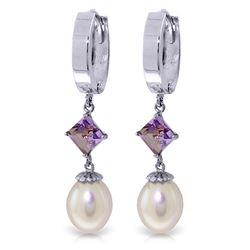 Genuine 9.5 ctw Pearl & Amethyst Earrings Jewelry 14KT White Gold - REF-53M2T