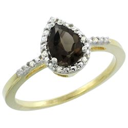 Natural 1.53 ctw smoky-topaz & Diamond Engagement Ring 10K Yellow Gold - REF-18Z9Y