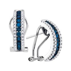0.57 CTW Blue Sapphire Vertical Diamond Hoop Earrings 14KT White Gold - REF-119X9Y