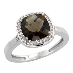 Natural 3.94 ctw Smoky-topaz & Diamond Engagement Ring 14K White Gold - REF-38A3V