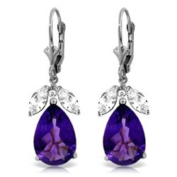 Genuine 13 ctw Amethyst & White Topaz Earrings Jewelry 14KT White Gold - REF-61Y2F