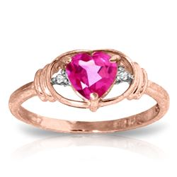 Genuine 0.96 ctw Pink Topaz & Diamond Ring Jewelry 14KT Rose Gold - REF-40V5W