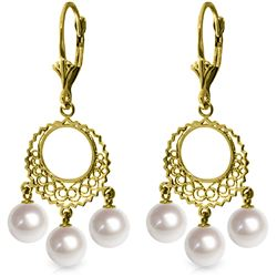 Genuine 12 ctw Pearl Earrings Jewelry 14KT Yellow Gold - REF-43K6V