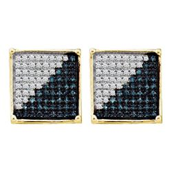 0.50 CTWMens Blue Color Diamond Square Cluster Earrings 10KT Yellow Gold - REF-25X4Y
