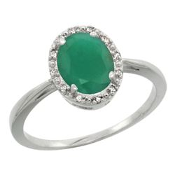 Natural 1.52 ctw Emerald & Diamond Engagement Ring 14K White Gold - REF-36G5M