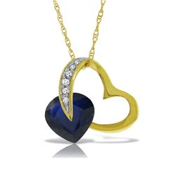 Genuine 4.4 ctw Sapphire & Diamond Necklace Jewelry 14KT Yellow Gold - REF-71V9W