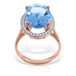 Genuine 7.58 ctw Blue Topaz & Diamond Ring Jewelry 14KT Rose Gold - REF-85P2H