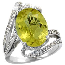 Natural 5.76 ctw lemon-quartz & Diamond Engagement Ring 14K White Gold - REF-90Z5Y