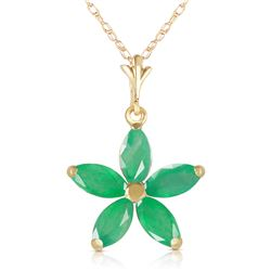 Genuine 1.40 ctw Emerald Necklace Jewelry 14KT Yellow Gold - REF-30N7R