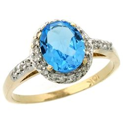Natural 1.3 ctw Swiss-blue-topaz & Diamond Engagement Ring 10K Yellow Gold - REF-25Y9X