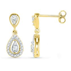 0.36 CTW Diamond Teardrop Dangle Screwback Earrings 10KT Yellow Gold - REF-30Y2X