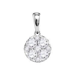 1.01 CTW Pave-set Diamond Circle Cluster Pendant 14KT White Gold - REF-119K9W