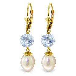 Genuine 11.10 ctw Pearl & Aquamarine Earrings Jewelry 14KT Yellow Gold - REF-30N6R