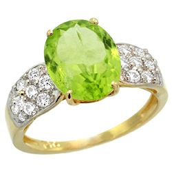 Natural 3.13 ctw peridot & Diamond Engagement Ring 14K Yellow Gold - REF-62X9A