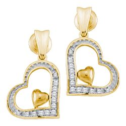 0.09 CTW Diamond Heart Love Dangle Screwback Stud Earrings 10KT Yellow Gold - REF-12H2M