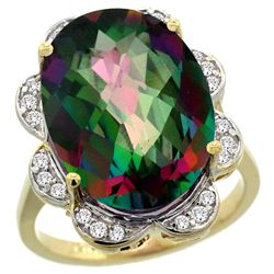 Natural 13.83 ctw mystic-topaz & Diamond Engagement Ring 14K Yellow Gold - REF-124X4A