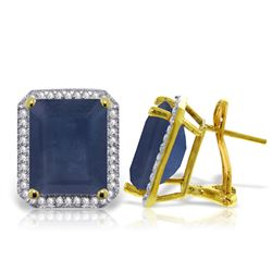 Genuine 13.2 ctw Sapphire & Diamond Earrings Jewelry 14KT Yellow Gold - REF-197V5W