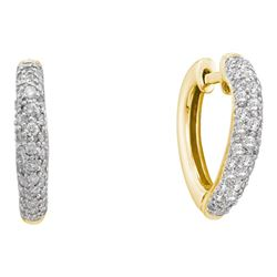 0.49 CTW Diamond Heart Love Hoop Earrings 14KT Yellow Gold - REF-59W9K