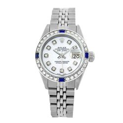 Rolex Pre-owned 26mm Womens Custom White MOP Stainless Steel - REF-470Y4W