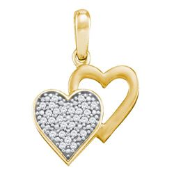 0.08 CTW Diamond Double Heart Pendant 10KT Yellow Gold - REF-9M7H