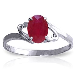 Genuine 1.15 ctw Ruby Ring Jewelry 14KT White Gold - REF-24F5Z
