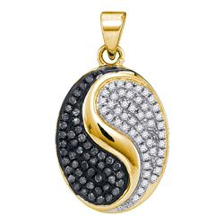 0.33 CTW Black Color Diamond Oval Yin Yang Pendant 10KT Yellow Gold - REF-22H4M