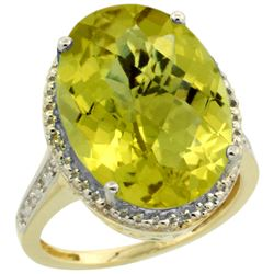 Natural 13.6 ctw Lemon-quartz & Diamond Engagement Ring 10K Yellow Gold - REF-52A3V
