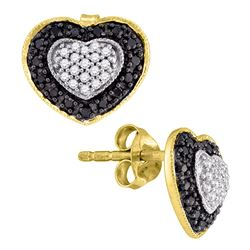 0.50 CTWBlack Color Diamond Heart Stud Earrings 10KT Yellow Gold - REF-26Y9X
