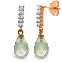 Genuine 4.65 ctw Green Amethyst & Diamond Earrings Jewelry 14KT Rose Gold - REF-36M2T