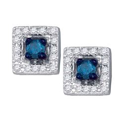0.25 CTW Blue Color Diamond Square Earrings 10KT White Gold - REF-24M2H