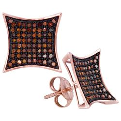 0.40 CTW Red Color Diamond Kite Cluster Earrings 10KT Rose Gold - REF-37W5K