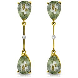 Genuine 6.01 ctw Green Amethyst & Diamond Earrings Jewelry 14KT Yellow Gold - REF-42T4A