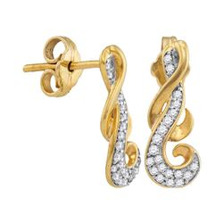 0.16 CTW Diamond Cluster Curled Screwback Earrings 10KT Yellow Gold - REF-13X4Y