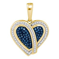 0.25 CTW Blue Color Diamond Heart Pendant 10KT Yellow Gold - REF-28X4Y