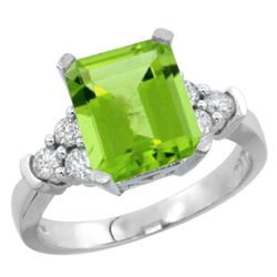 Natural 2.86 ctw peridot & Diamond Engagement Ring 14K White Gold - REF-65R3Z